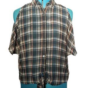 Mine Sheer Open Shoulder Tie Green Plaid Top EUC M